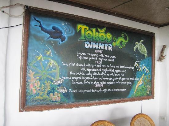 Atlantis Dive Resorts Dumaguete: Dinner menu