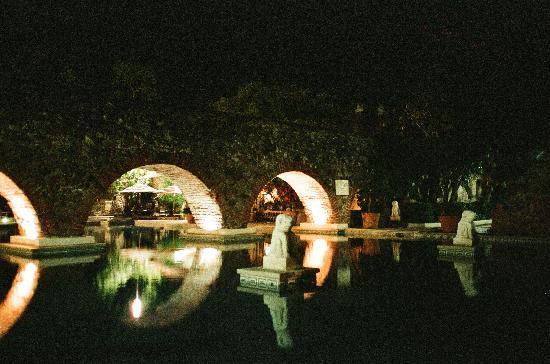 Hacienda Vista Hermosa: Pool by night