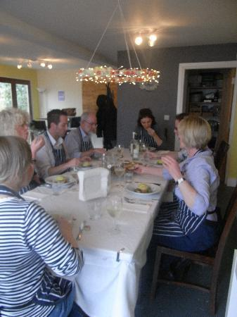 My Little Kitchen Cookery School: Participants enjoy lunch with a glass of wine