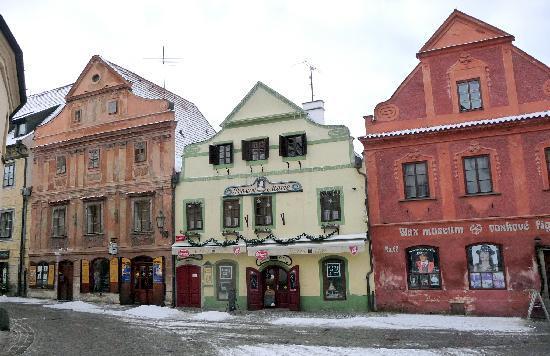 Pension Na louzi: Nalouzi, pink house on left