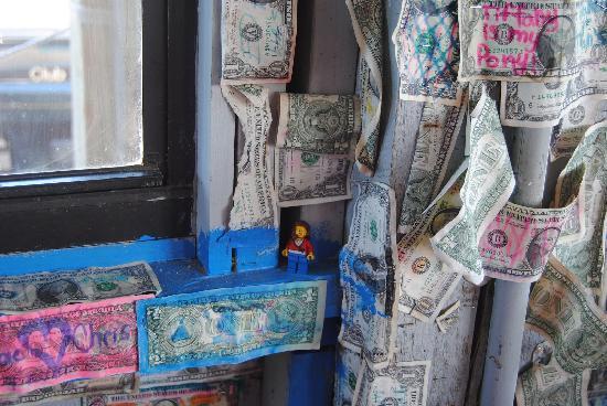Barnacle Restaurant : dollar bills at barnacle phil's