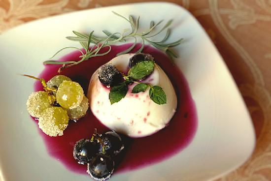 Classic Panna Cotta with grapes, made by the Newborgs on their Cook Italy class