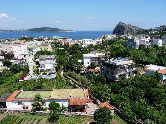 Hotel Hermitage & Park Terme: Blick auf Insel Vivara/Procida mit Vesuv im Hintergrund und Kastello Aragonese