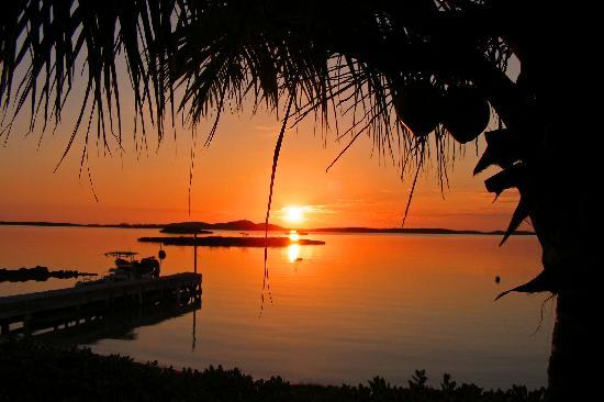 George Town, Gran Exuma: sunrise from villa