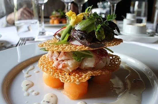 Kasteel TerWorm Restaurant : Lobster with melon and lavender dressing