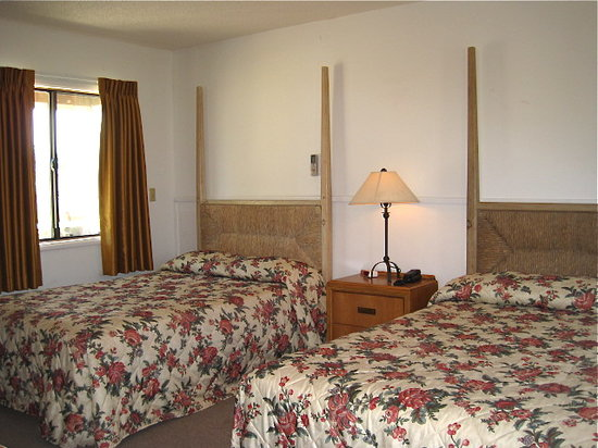 A view of a cozy guest room at the historic Old Timer's wing of the Shoshone Inn.