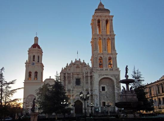 Urdiñola Hotel: Early light hits tower at church on the main square near the Urdinola Hotel in Saltillo, Mexico.