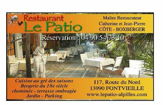terrasse ombragée du Patio - Picture of Le Patio, Fontvieille ...