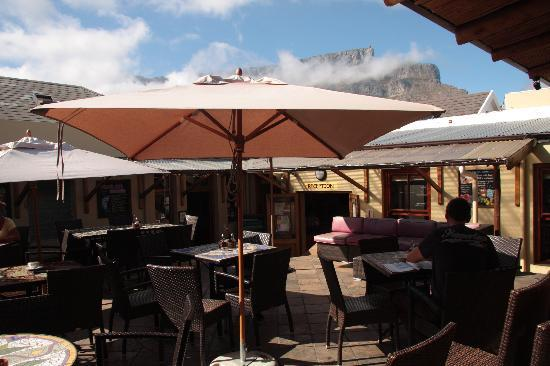 The Backpack: Outdoor seating with view of Table Mountain