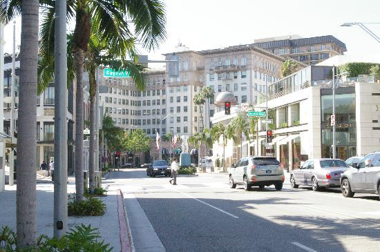 Beverly Hills, CA: A distant shot pointed at Pretty Woman Hotel, The Beverly Wilshire
