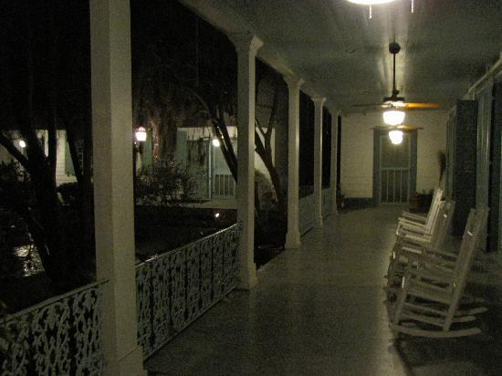 The Myrtles Plantation: The porch at night