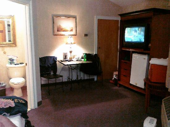Cedar Park Inn And Suites: Overall room view from entry door; note, that is the ONLY lamp other than flourescent light over