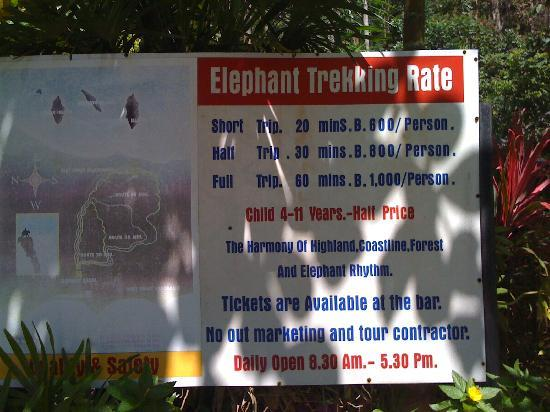 Kok Chang Safari Elephant Trekking: price list kokchang safari contact. 083-1824515