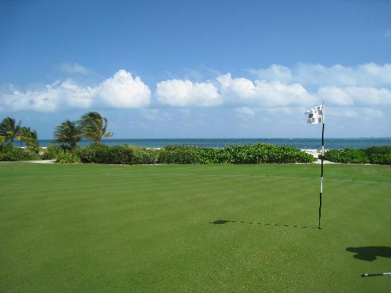 Playa Mujeres Golf Club: 16th Hole green, overlooking Isla Mujeres