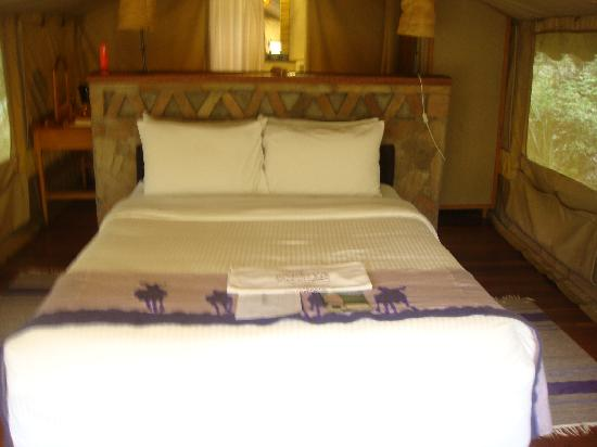 Sarova Mara Game Camp: Inside my 'room' which is a tent!