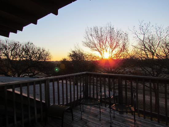 Historic Kuebler Waldrip Haus Bed and Breakfast: Sunrise off of the bedroom deck.  Beautiful!