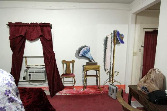 Amargosa Opera House and Hotel: typical room, note space heater. Clean but simple.