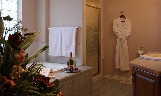 Royal Bed and Breakfast : Jetted soaker tub and separtate shower in Kings Palace