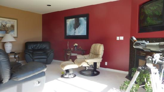 Royal Bed and Breakfast : Royal Suite sitting area - features large screen TV, fireplace and view of lake