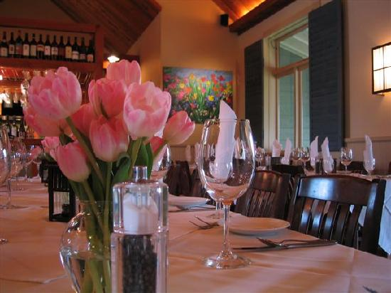 Steeples Restaurant: white table clothes for weddings