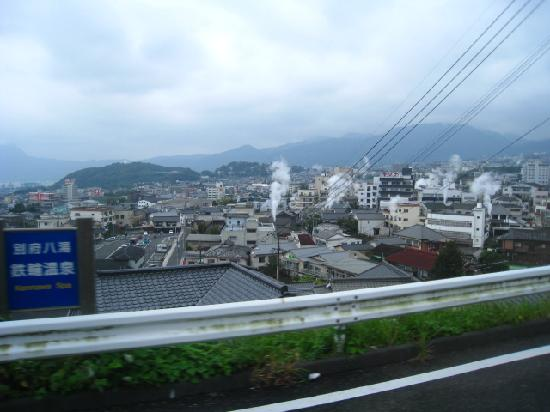 beppu town full of hot steam fr hot spring - Picture of ...