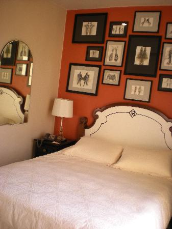 "Bancroft Hotel: Our newly renovated ""rust"" colored room."