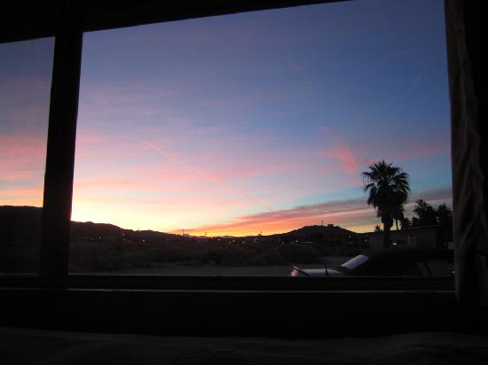 "29 Palms Inn, view of sunset from ""The Hermitage"" bed"