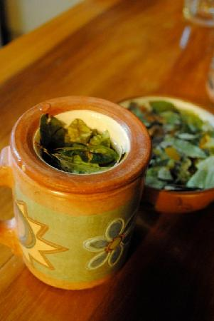 Kuychi Rumi: matte de coca tea to help the altitude sickness, they had it in every cottage