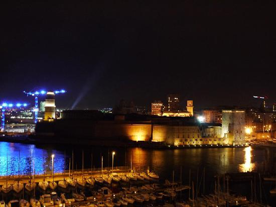 Sofitel Marseille Vieux-Port: View from the bedroom by night