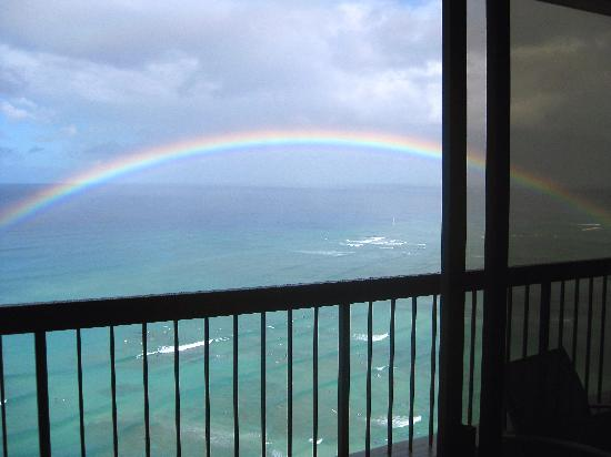 Aston Waikiki Beach Tower: A view from bed in master bedroom!