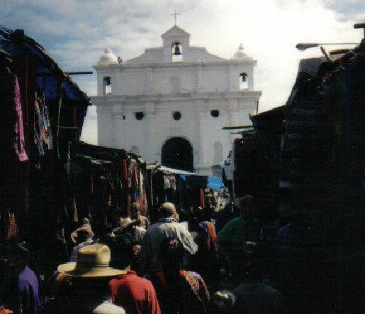 Santo Tomas Church built in 1606  on Market Day in Chichicastenango, Guatemala