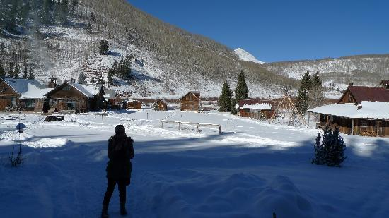Dunton Hot Springs: snowshoeing and town view