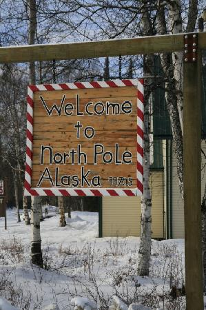 North Pole, AK: Outside Santa's Workshop in February