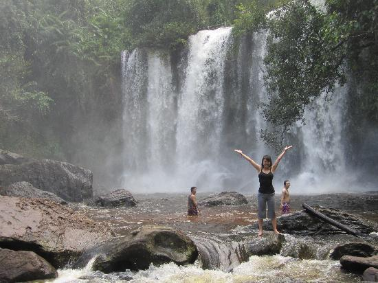 Phnom Kulen National Park: My sister who then slipped into the water!