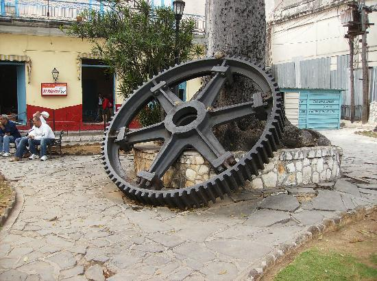 Matanzas, Cuba: Huge Wheel by Cathedral