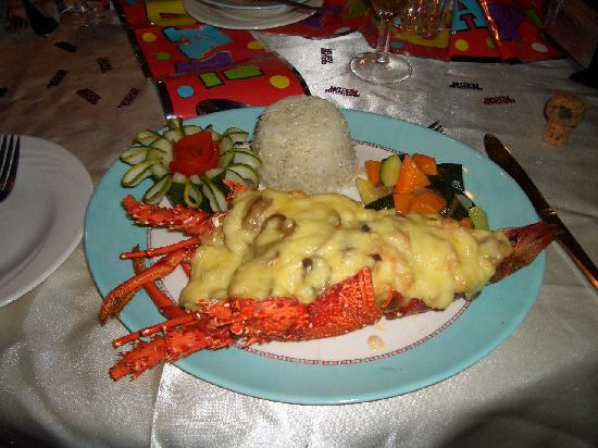 Pinewood Beach Resort & Spa : Birthday meal - Lobster cooked by Katana our personal chef
