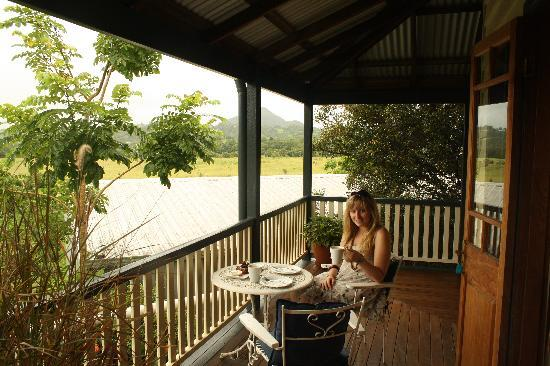 Gridley Homestead B&B: Relaxing on the large wrap around balcony enjoying a complimentary slice