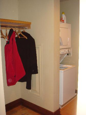 Miners Club: Hall Coat area and Washer Dryer