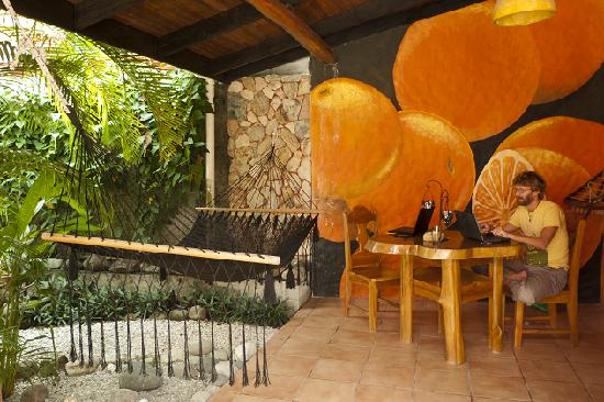 Casa Coba: Painted oranges on the patio
