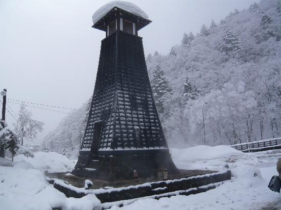 Hirayu Onsen Hirayu no Mori: 駐車場入り口にある足湯