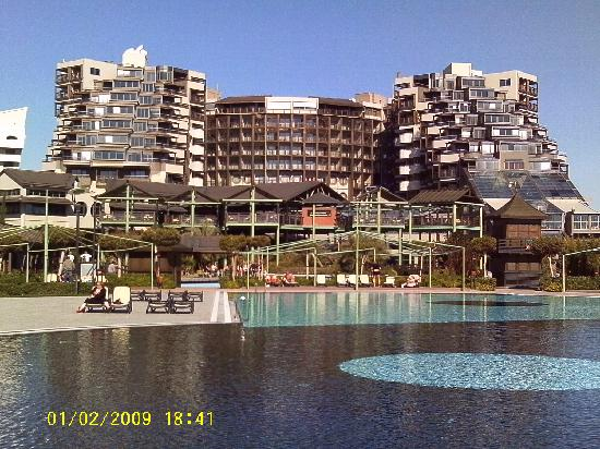 Limak Lara De Luxe Hotel & Resort: View of the hotel from the beach