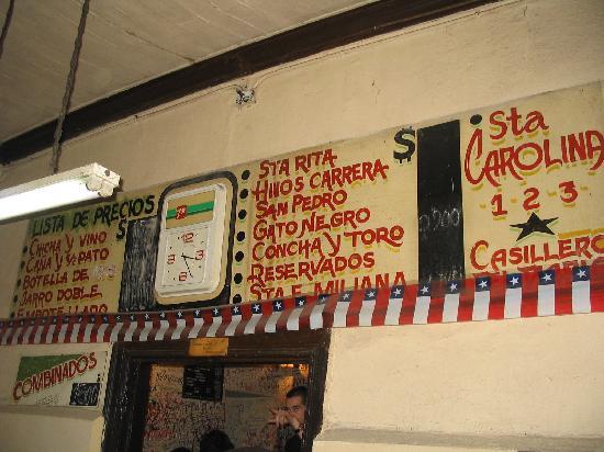 Bar La piojera,la carta de precios, Santiago (Chile)