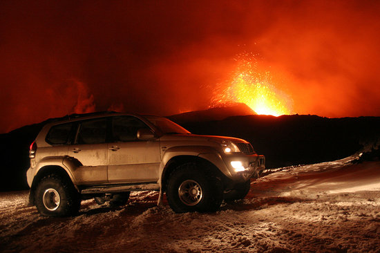 Iceland Luxury Tours: At the volcanic eruption in Fimmvorduhals in April 2010.