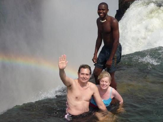Mosi-oa-Tunya / Victoria Falls National Park: Sitting in Devil's Pool on the edge of the Victoria Falls