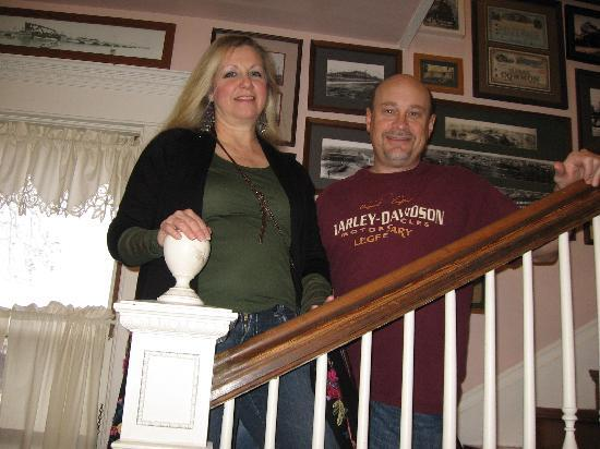 Katy House Bed and Breakfast: Tim and I in front of the train pictures inside the Katy House