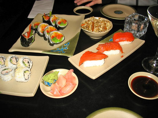 Blue Water Sushi: dinner spread