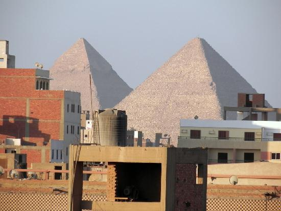 Pyramids from pool area - zoomed in - Picture of Barcelo Cairo