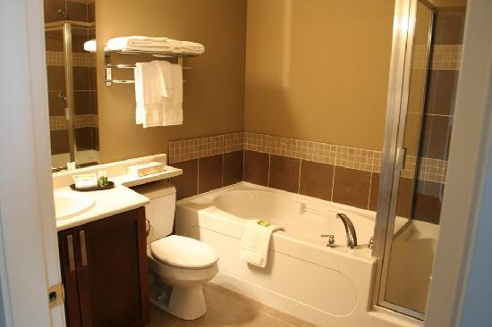 Courtenay, Canadá: nice sized (deep) soaker tub - shower stall to the left.
