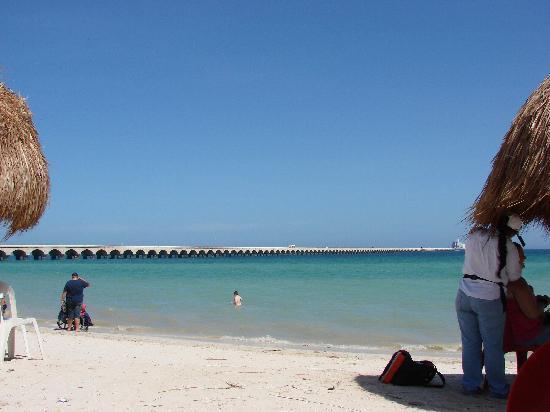 Progreso Mexico Beach And Long Pier To Ship