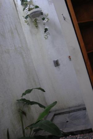 D'Djabu Hotel: Shower facilities amongst moss stained walls.